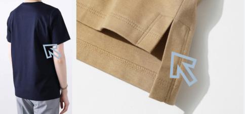 シルクパウダーTシャツ立体裁断スリット