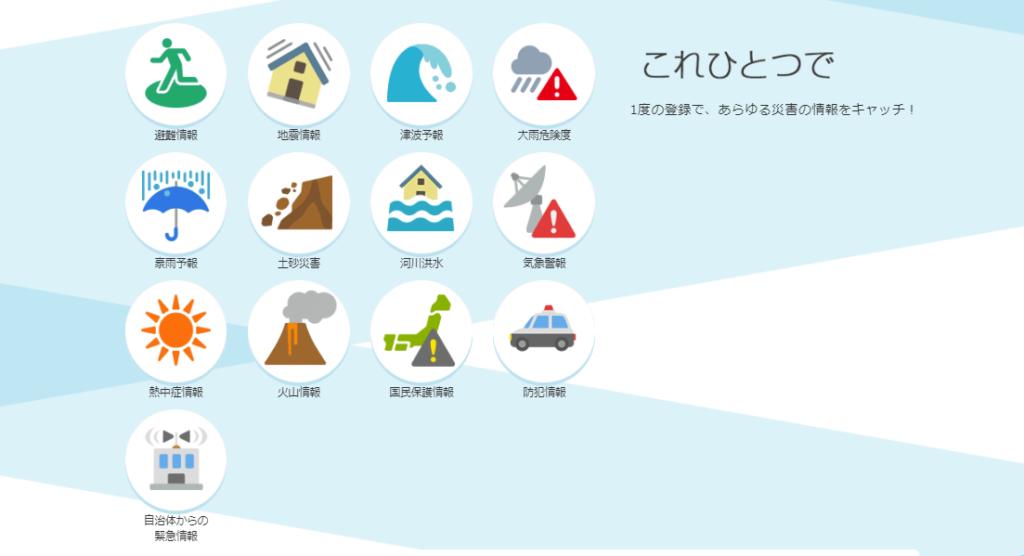 ヤフー防災速報アプリ津波台風