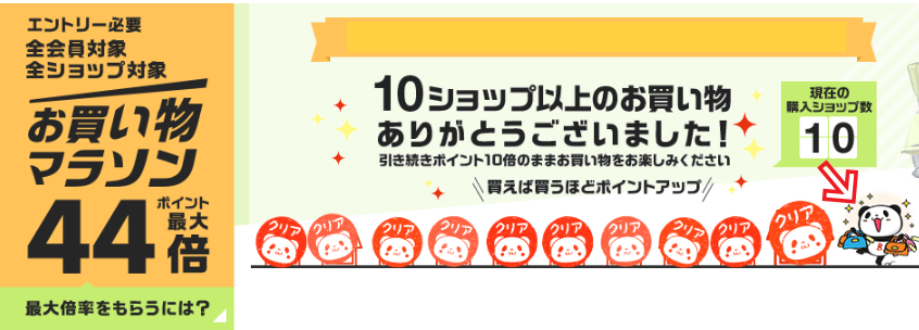 楽天お買い物マラソン10店舗買い回り達成2