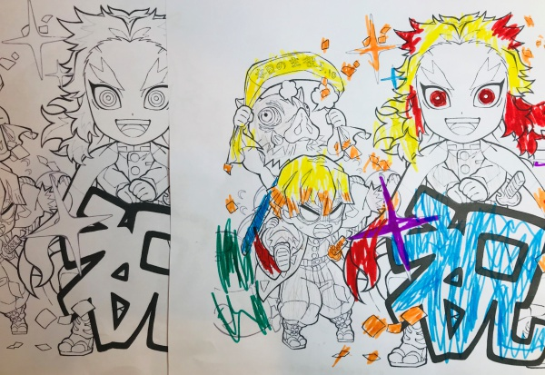 煉獄さん誕生日 塗り絵無料ダウンロード グッズ イラストぬりえ 5月10日ヘッダープレゼント Zoompress ズームプレス