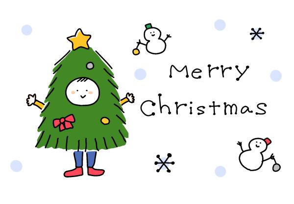 クリスマスカードイラスト無料かわいいいなほ-001
