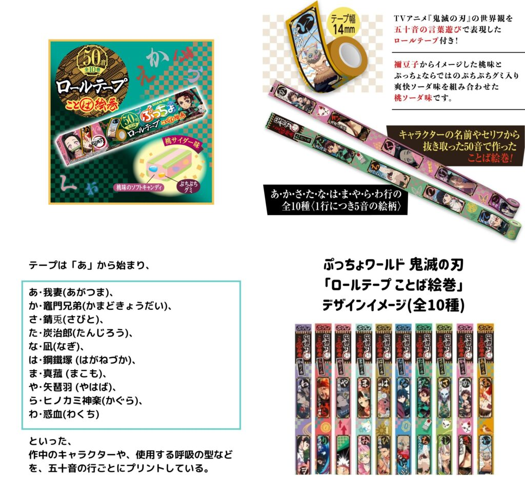1「鬼滅の刃×ぷっちょ」コラボ|ロールテープ付き(桃サイダー味)発売!きめつグッズ・お菓子通販・取扱い店舗